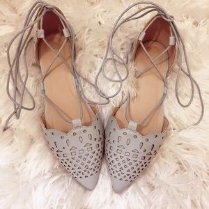 Pastel Blue Perforated Lace Up ballet Flats